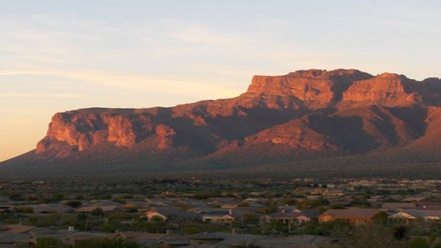 Superstition Mountain Gold Canyon Arizona at sunset
